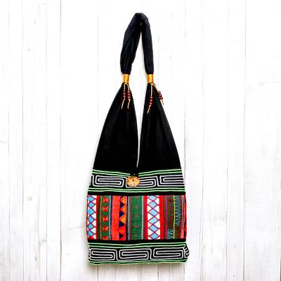 Cotton shoulder bag, 'Ardent Thai' - Thai Multicolored Cotton Shoulder Bag with Geometric Motif