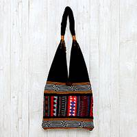 Cotton shoulder bag, 'Mesmerizing' - Thai Multicolored Cotton Shoulder Bag with Geometric Motif