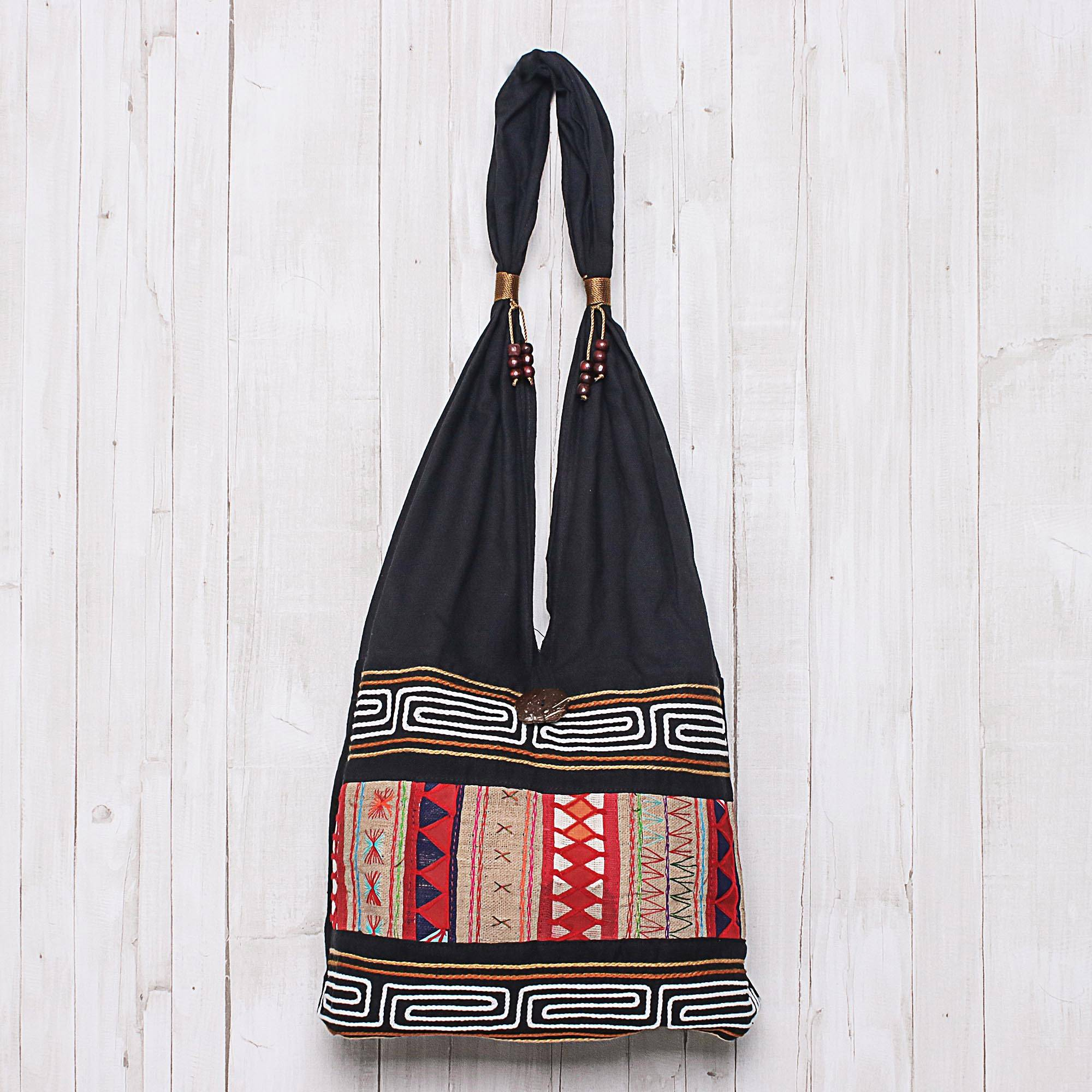 4ad9d9e0fe3d Hill Tribe-Style Cotton Shoulder Bag from Thailand, 'Earth Love'