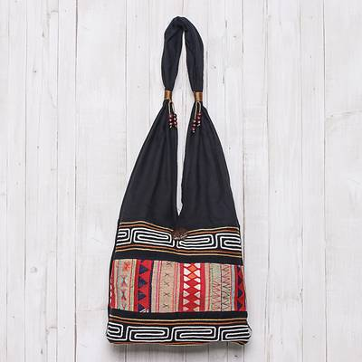 Cotton shoulder bag, 'Earth Love' - Hill Tribe-Style Cotton Shoulder Bag from Thailand