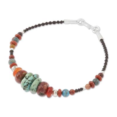 Multi-gemstone beaded bracelet, 'Bohemian Style' - Multi-Gemstone Beaded Bracelet from Thailand