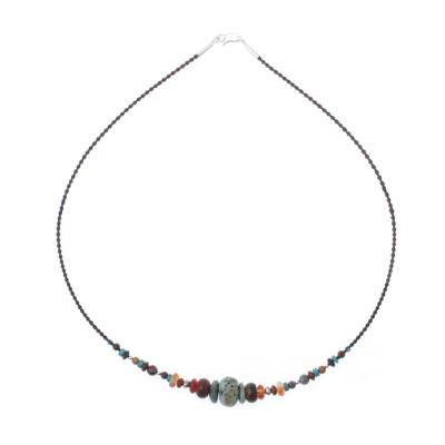 Multi-gemstone beaded necklace, 'Bohemian Style' - Multi-Gemstone Beaded Necklace from Thailand
