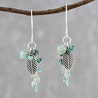 Multi-gemstone beaded dangle earrings, 'Karen Wind' - Leaf-Themed Multi-Gemstone Beaded Dangle Earrings
