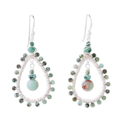 Sea Green Beaded Dangle Earrings with Jasper and Prehnite