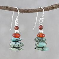 Multi-gemstone beaded dangle earrings, 'Stony Towers' - Multi-Gemstone Beaded Dangle Earrings from Thailand