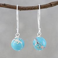 Magnesite dangle earrings, 'Fun Bubbles' - Round Magnesite Dangle Earrings from Thailand