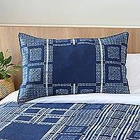 Batik cotton pillow sham, 'Indigo Comfort' - Indigo Blue Batik Thai Hand-dyed Cotton Sham Cushion Cover