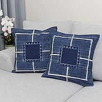 Batik cotton cushion covers, 'Energetic Stripes' (pair) - Batik Cotton Cushion Covers in Indigo from Thailand (Pair)