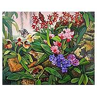 'Thai Orchids' (2018) - Nature-Themed Expressionist Painting from Thailand (2018)