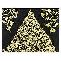 'Thai Motif' - Signed Gold-Tone Folk Art Painting from Thailand