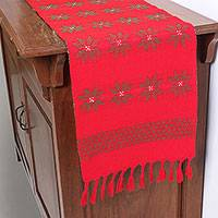 Cotton table runner, 'Lisu Festivities in Poppy' - Handwoven Cotton Table Runner in Poppy from Thailand