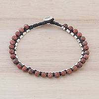 Jasper beaded bracelet, 'Exotic Embrace' - Jasper and Karen Silver Beaded Bracelet from Thailand