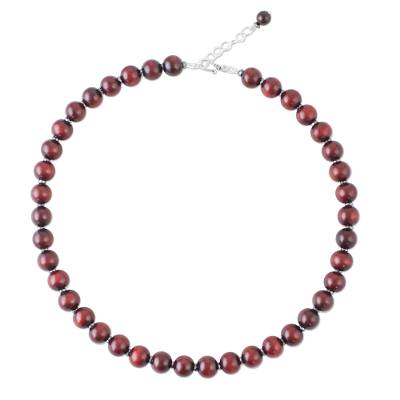 Handmade Hematite and Wood Beaded Necklace from Thailand