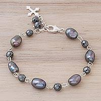 Cultured pearl link bracelet, 'Cross of the Ocean' - Cultured Pearl Cross Link Bracelet from Thailand