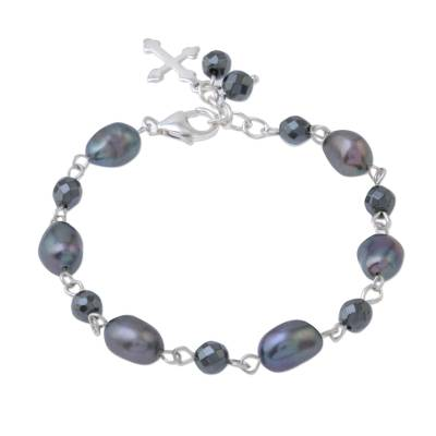 Cultured Pearl Cross Link Bracelet from Thailand