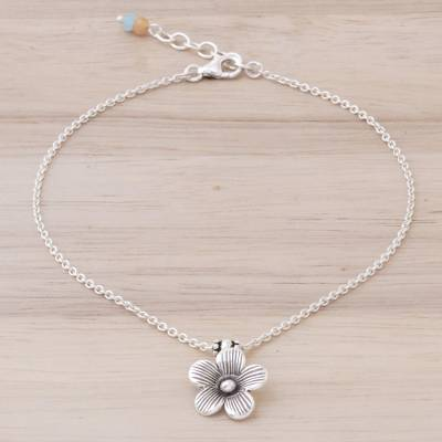 Silver charm anklet, 'Charm in Bloom' - Handmade Quartz and Silver Floral Anklet from Thailand