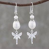 Cultured pearl dangle earrings, 'My Sweet Angel' - Angel Themed Cultured Pearl Dangle Earrings from Thailand