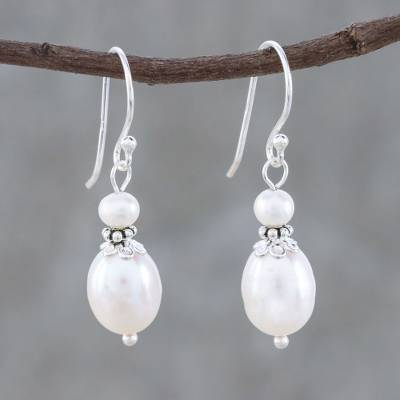 Cultured pearl dangle earrings, 'Shining Beacon' - Thai Cultured Freshwater and Sterling Silver Dangle Earrings