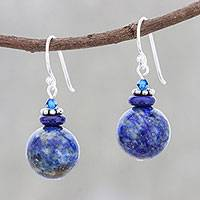 Lapis lazuli beaded dangle earrings, 'Global Wonder' - Lapis Lazuli Beaded Dangle Earrings from Thailand