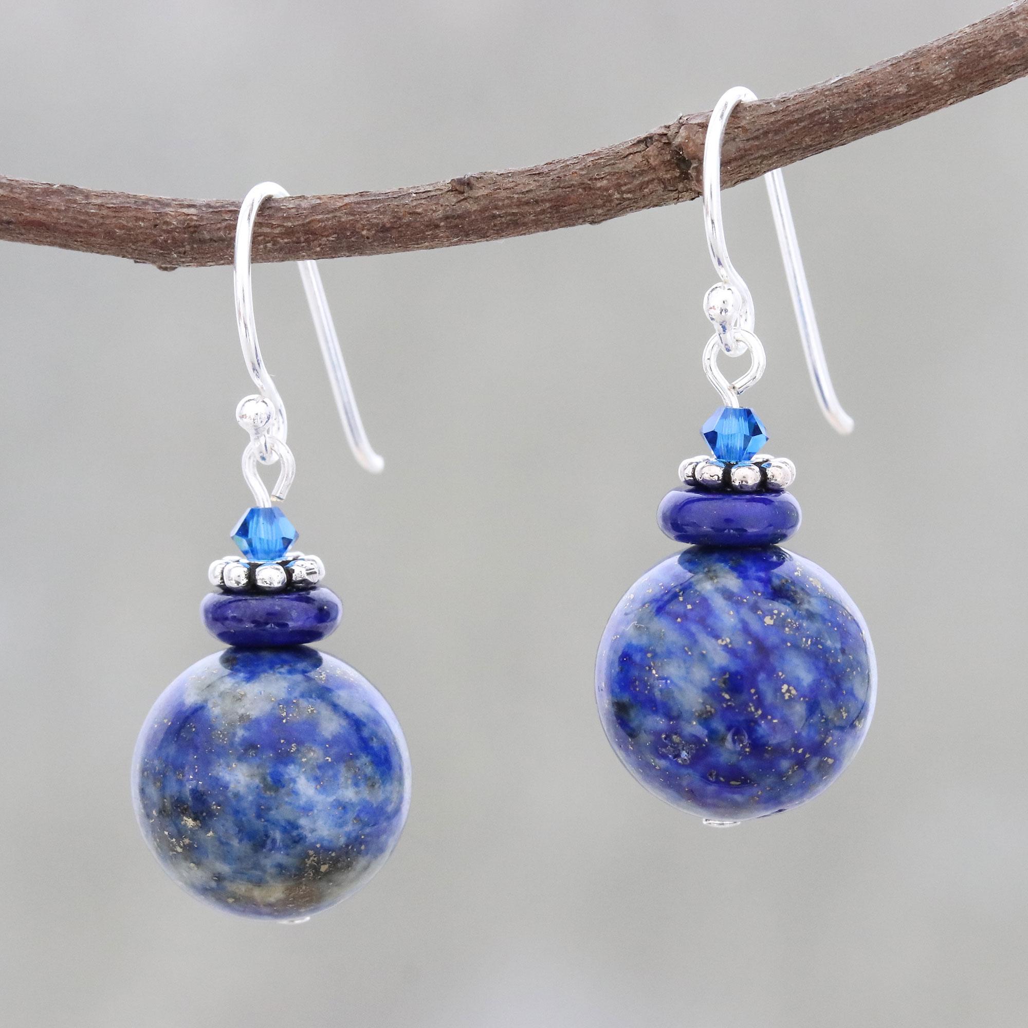 a4e7f1068 Lapis Lazuli Beaded Dangle Earrings from Thailand - Global Wonder ...