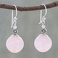 Rose quartz beaded dangle earrings, 'Bonbon Bloom' - Rose Quartz Beaded Dangle Earrings from Thailand
