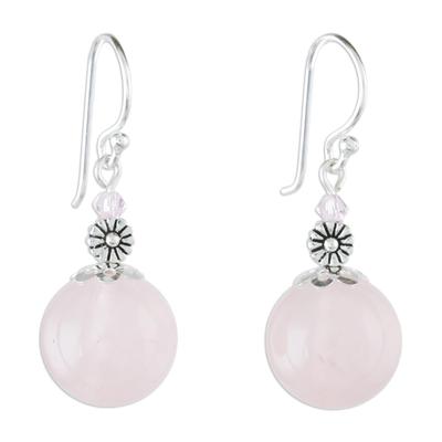 Rose Quartz Beaded Dangle Earrings from Thailand