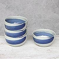 Ceramic dessert bowls, 'Blue Winds' (set of 4) - Handcrafted Blue and White Ceramic Set of Four Small  Bowls