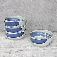 Ceramic cereal bowls, 'Blue Winds' (set of 4) - Handcrafted Blue and White Ceramic Set of Four Bowls
