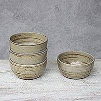 Ceramic dessert bowls, 'Typhoon' (set of 4) - Set of Four Beige and Brown Ceramic Dessert Bowls