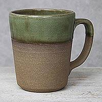 Ceramic mug, 'Green Patina' - Handcrafted Brown and Green Two-Tone Ceramic Mug