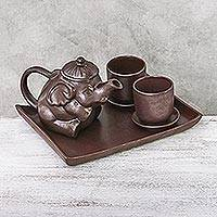 Ceramic tea set, 'Earthy Elephant'  (set for 2) - Artisan Crafted Brown Ceramic Elephant Tea Set with Tray