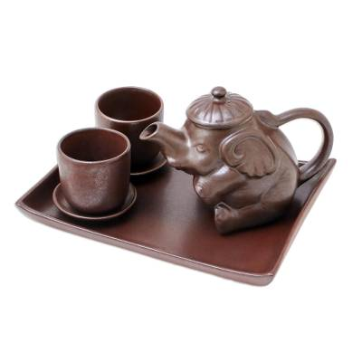 Artisan Crafted Brown Ceramic Elephant Tea Set with Tray