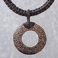 Wood and leather pendant necklace, 'Earth Ring in Dark Brown'