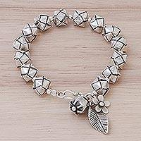 Silver beaded bracelet, 'Karen Origami' - Sterling and Karen Silver Origami-Inspired Beaded Bracelet