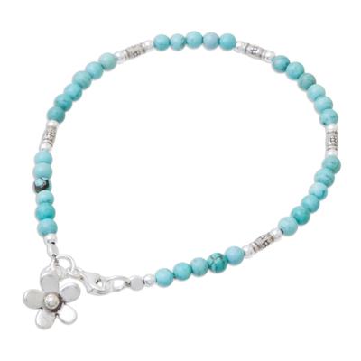 Magnesite charm bracelet, 'Sky Garden' - Blue Magnesite Sterling Silver Beaded Flower Charm Bracelet