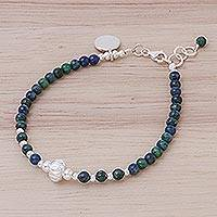 Azure-malachite beaded bracelet, 'Earthy Beauty' - Azure-Malachite Sterling Silver Beaded Charm Bracelet