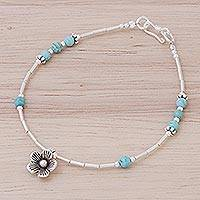 Magnesite beaded bracelet, 'Little Daisy' - Blue Magnesite Sterling Silver Beaded Daisy Charm Bracelet