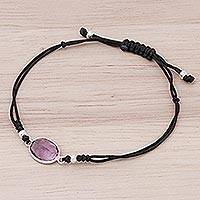 Amethyst cord bracelet, 'Lavender Cloud' - Black Cord and Purple Amethyst Knotted Cord Bracelet