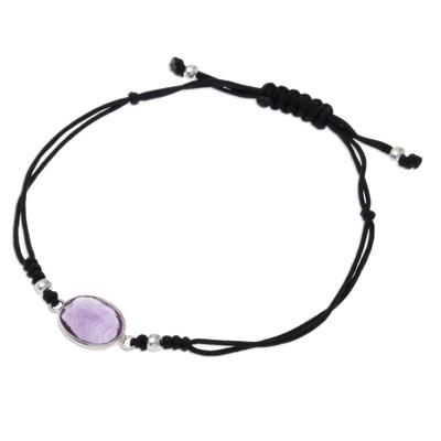 Purple Amethyst Knotted Cord Pendant Bracelet