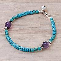 Calcite and amethyst beaded bracelet, 'Shades of Aqua' - Calcite Amethyst Sterling Silver Beaded Bracelet with Bell