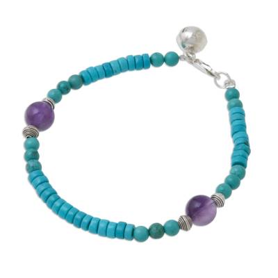 Amethyst and calcite beaded bracelet, 'Shades of Aqua' - Calcite Amethyst Sterling Silver Beaded Bracelet with Bell