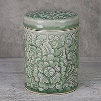 Celadon ceramic jar, 'Flora Dream' - Handmade Floral Celadon Ceramic Jar and Lid from Thailand