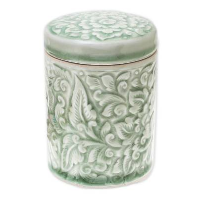 Handmade Floral Celadon Ceramic Jar and Lid from Thailand