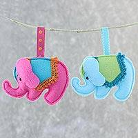Felt ornaments, 'Delightful Elephants' (pair) - Felt Elephant Ornaments in Fuchsia and Blue (Pair)