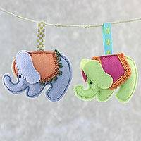 Felted ornaments, 'Marvelous Elephants' (pair) - Felted Elephant Ornaments in Grey and Green (Pair)