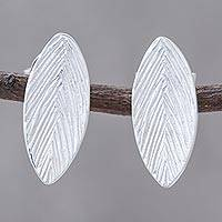 Sterling silver drop earrings, 'Leaf Print' - Sterling Silver Single Textured Leaf Drop Earrings
