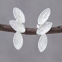 Sterling silver drop earrings, 'Leaves of Three' - Sterling Silver Triple Textured Leaf Drop Earrings