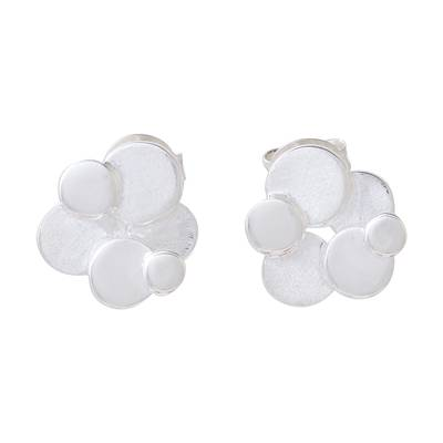 Sterling Silver Cluster of Floating Bubbles Button Earrings