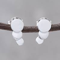 Sterling silver drop earrings, 'Rising' - Sterling Silver Trio of Floating Bubbles Drop Earrings