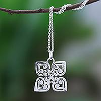 Sterling silver pendant necklace, 'Fortified Heart' - Handcrafted Sterling Silver Heart and Cross Pendant Necklace